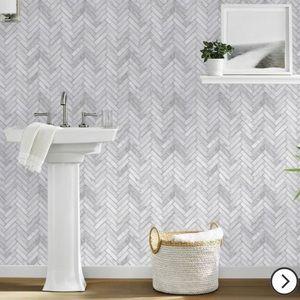 Threshold Marble Herringbone Tile Peel  Stick gray